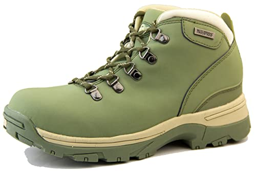 Northwest Territory Womens Trek Olive Green Leather Walking Hiking Boots UK  3