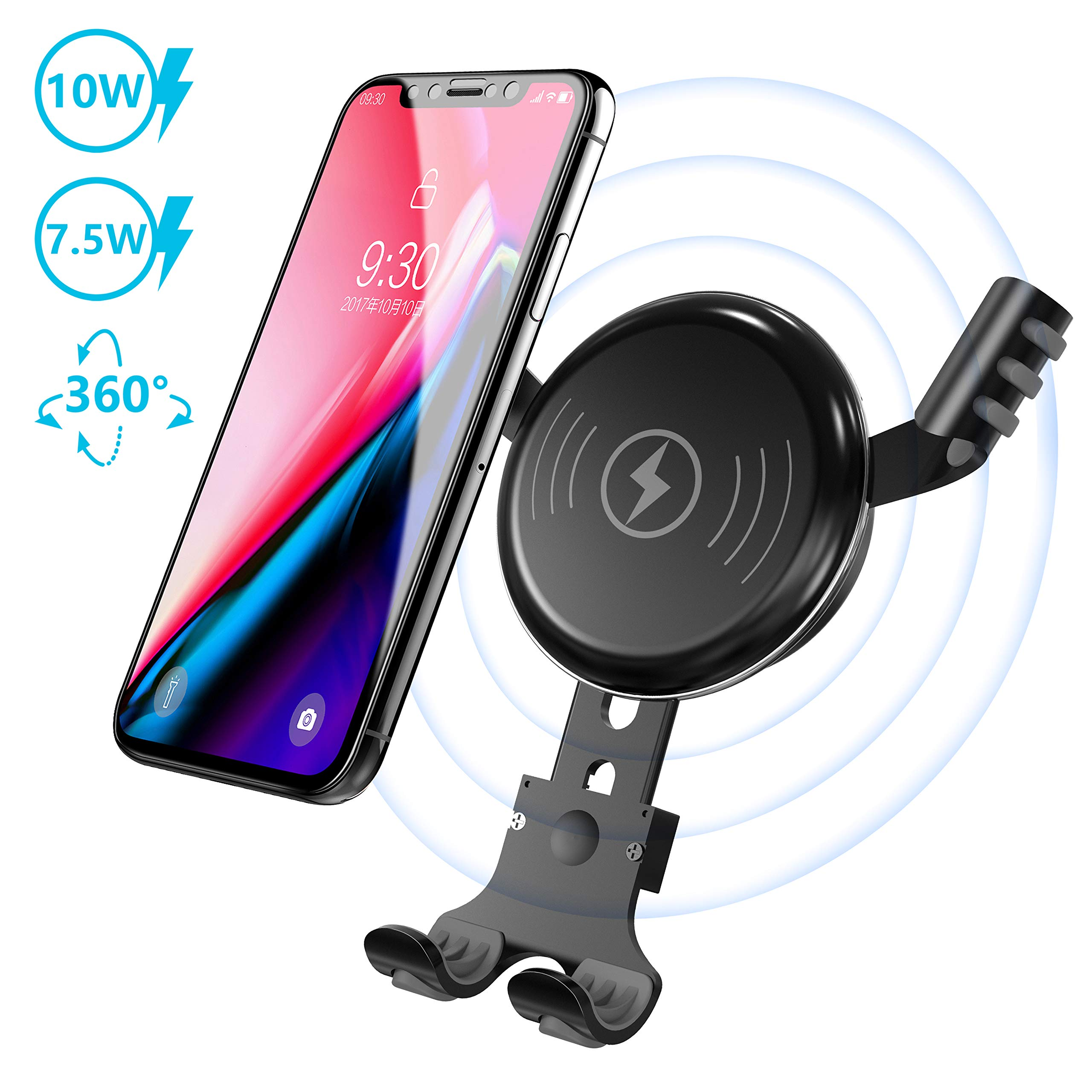 BESTHING Wireless Charger, Wireless Car Mount, Air Vent Phone Holder, 10W Fast Charge Compatible for Samsung Galaxy S9, S8, Note 8, 7.5W Quick Charging Compatible for iPhone Xs (Black)