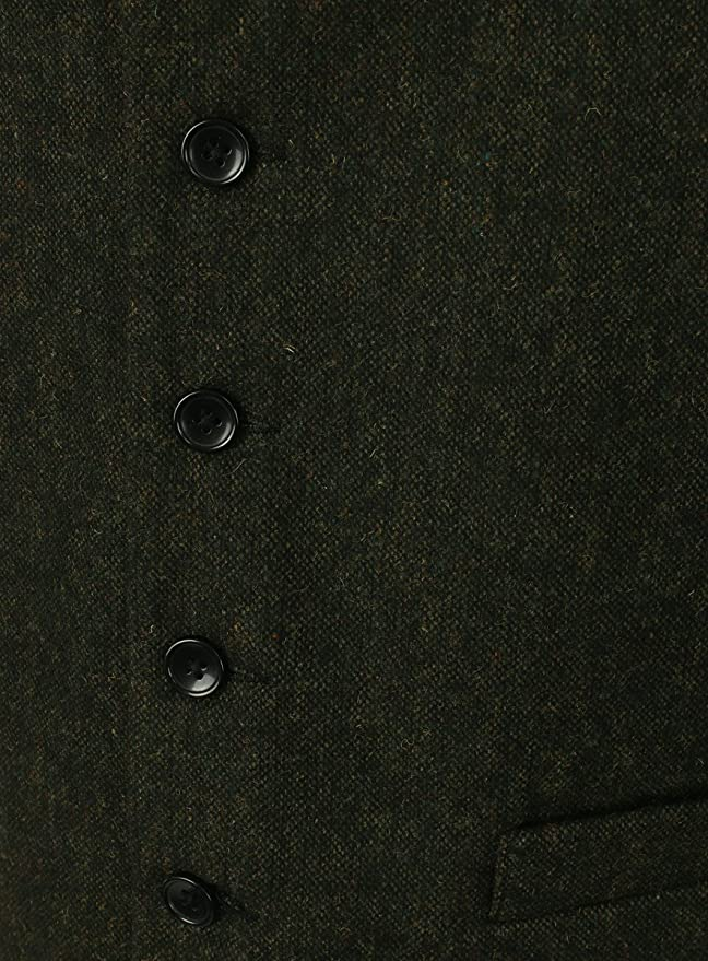 Uomo Tweed Fleck Verde Lloyd Attree /& Smith Gilet in Misto Lana