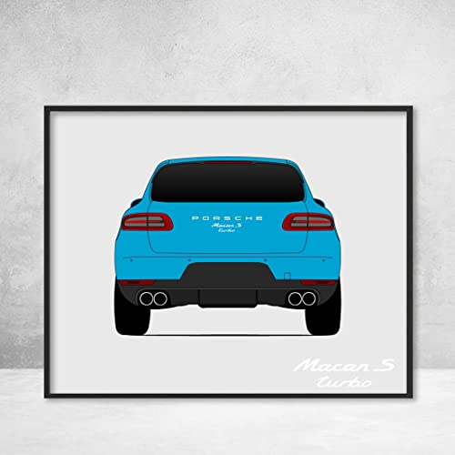 Porsche Macan Turbo S Rear View Poster Print Wall Art Decor Handmade Type 95B GTS