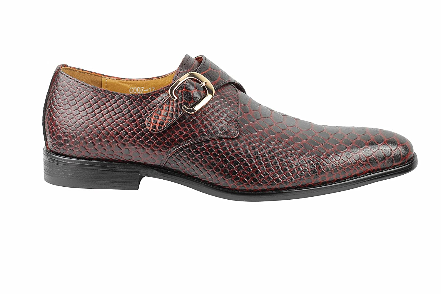 3e40a7869b3 Xposed Mens Real Leather Crocodile Skin Effect Red Blue Monk Shoes Slip on  Smart Loafer
