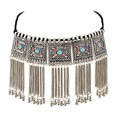 347d6be2199841 Buy Urbanela Multicolor Oxidized German Silver Gypsy Look Tribal Antique Boho  Choker Necklace Afgani Jewellery for Women Online at Low Prices in India ...