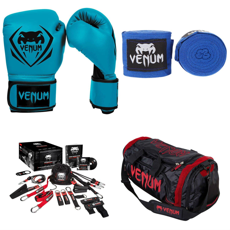 Venum Contender Training Bundle 12 Blue Gloves and Handwraps, Red Devil Sport Bag US-VENUM-BDLCTTR-BLUE12-RD-Blue