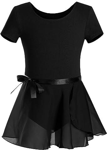 Dance 2-11T Skirted Leotards Girls Short Sleeve Leotard Dress for Ballet