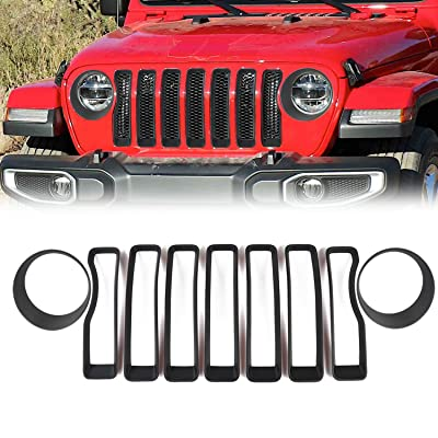 RT-TCZ 2020 Jeep Wrangler JL Mesh Grille Grill Insert+Headlight Turn Light Cover Trim(Matte Black): Automotive