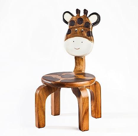 Silla infantil de madera maciza con diseño de mamá jirafa, 25 cm ...