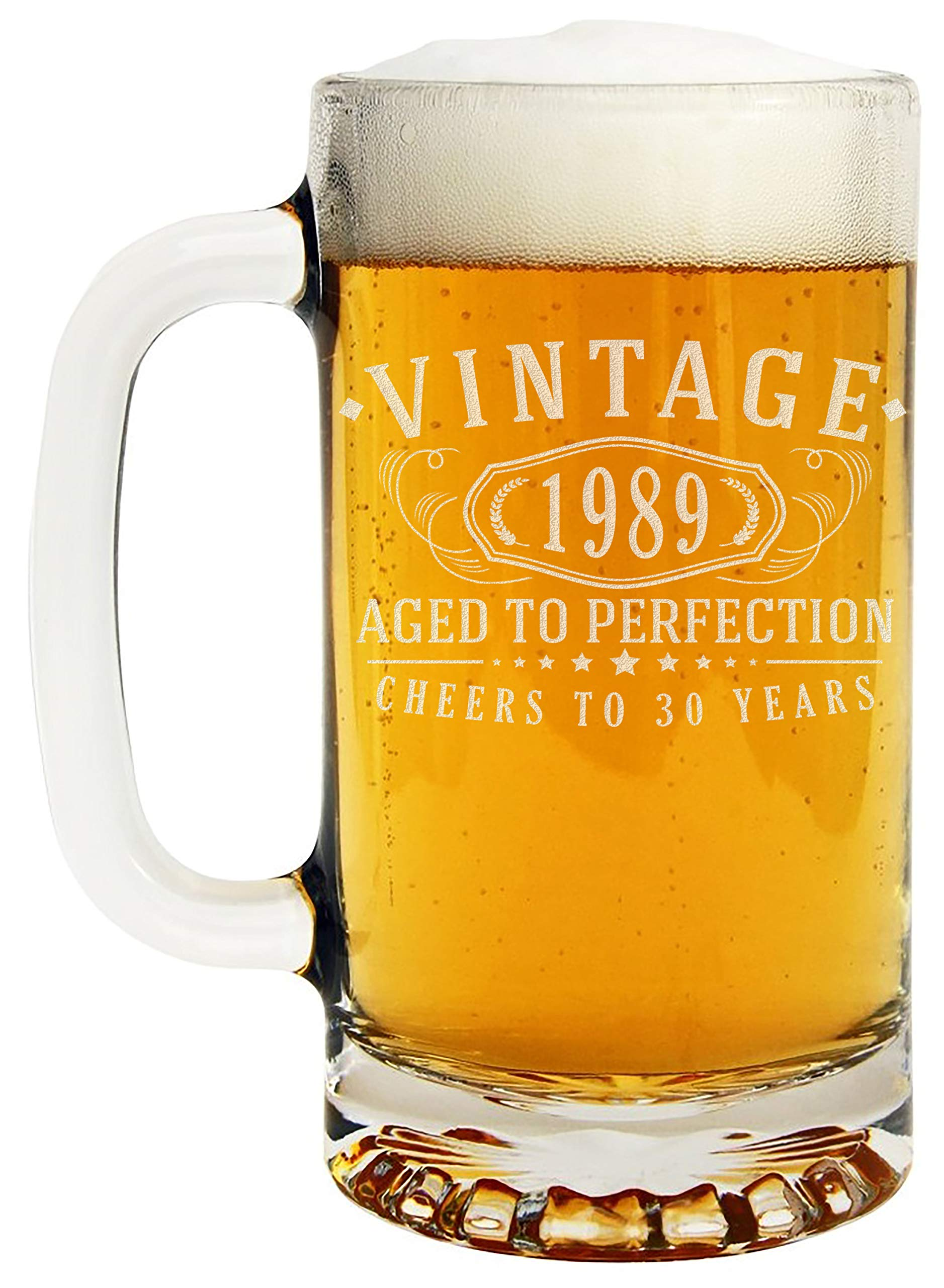 30th Birthday Etched 16oz Glass Beer Mug - Vintage 1989 Aged to Perfection - 30 years old gifts