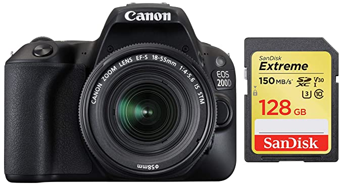 Canon EOS 200D 24.2MP Digital SLR Camera with EF S 18 55 mm is STM Lens and EF S 55 250 mm is STM Lens/Camera Case + SanDisk 128 GB Extreme SDXC UHS I