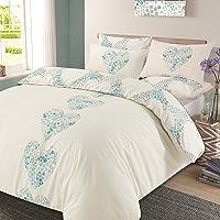 Dreamscene Duvet Quilt Cover with Pillow Case Reversible Bedding Set - Lizzie Hearts Cream Duck Egg