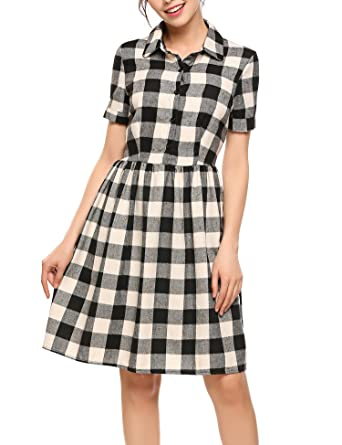 decc0fba8a1 ACEVOG Women s Shirt Collar Polo Neck Short Sleeve Plaid Shirts Dress Black