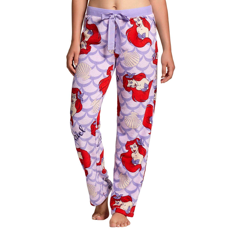 Little Mermaid Ariel Women's Junior Fit Plush Fleece Pajama Lounge Sleep Bottom Pants PJ (Medium)