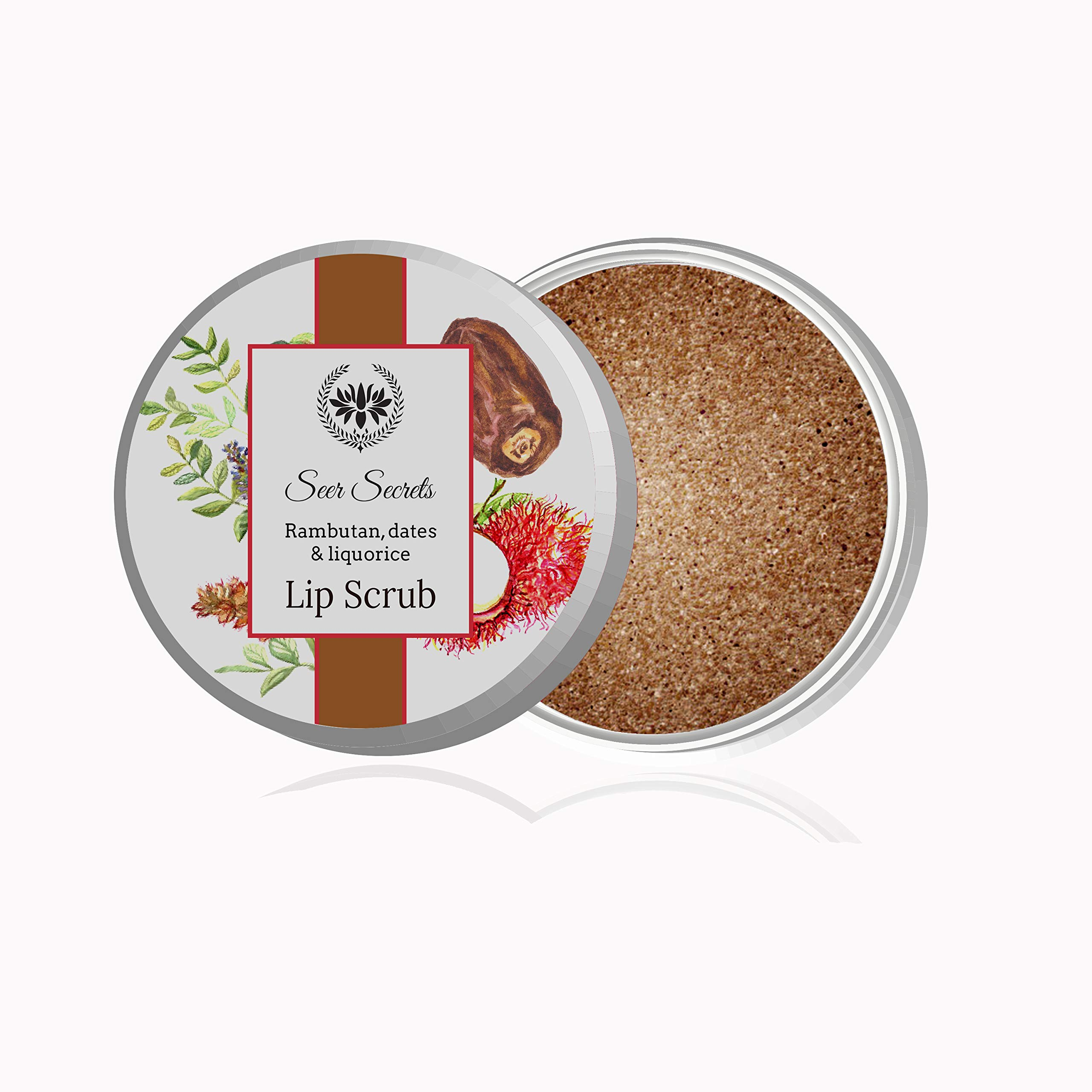 Seer Secrets Lip Scrub for Chapped Lips - Natural Ingredient with Rambutan & Dates | Exfoliating & Moisturizes for Dry Lips (0.28 Ounces) for Him Her