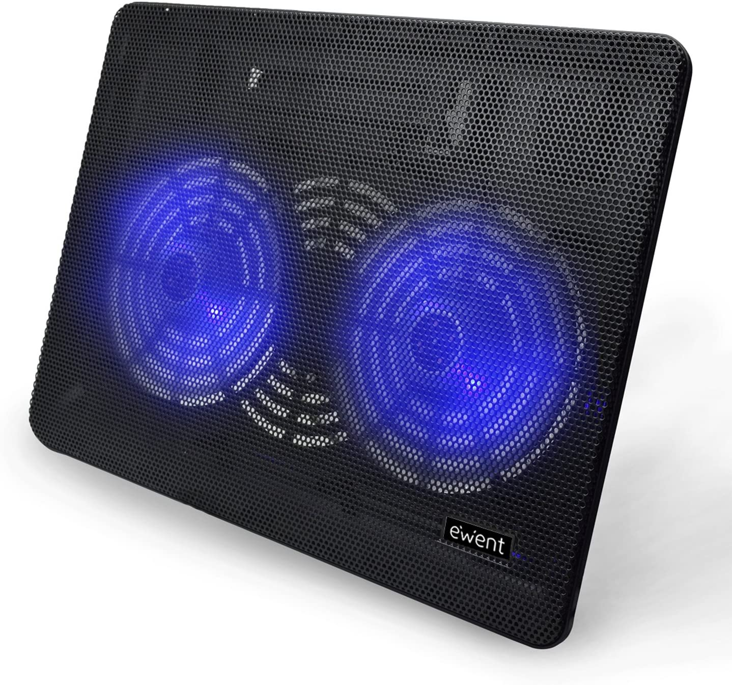 Ewent EW1256 Base de refrigeración para ordenador portátil de 12 a 17 pulgadas, 2 ventiladores, luz LED azul, color negro