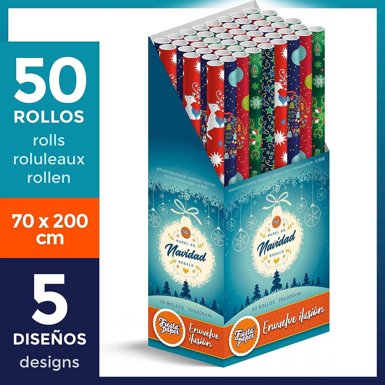 50 Rollos grandes de Papel de Regalo NAVIDAD (5 motivos navideños) 70 cm x 200 cm (2 m) + CAJA EXPOSITOR - FP Fiesta Paper - ESPECIAL PARA: Tiendas Comercios Reyes Papa Noel Fiestas Cenas Niños
