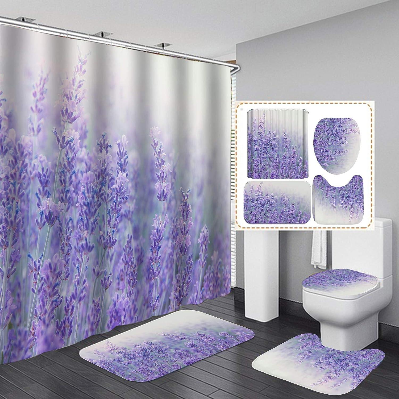 Floral Bathroom Rug Set Shower Curtain Thick Non Slip Toilet Lid Cover Bath Mat