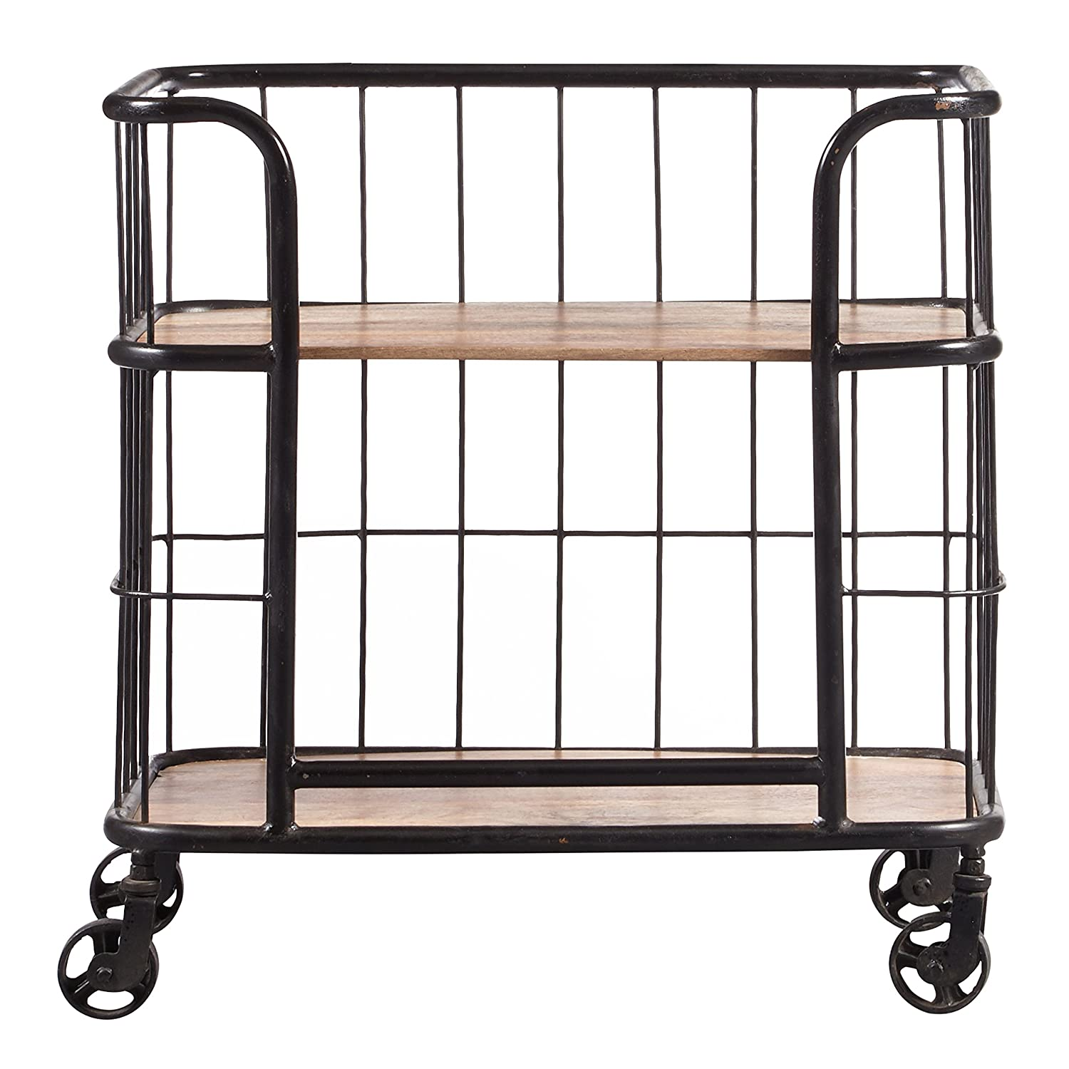 Industrial Wood and metal trolley cart