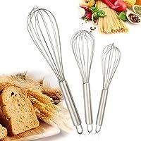 Emooqi 3 pezzi Frusta da cucina in acciaio inossidabile, Set frusta, Uovo, Milk & Egg Beater Mixer - 8inch + 10inch + 12inch, Argento
