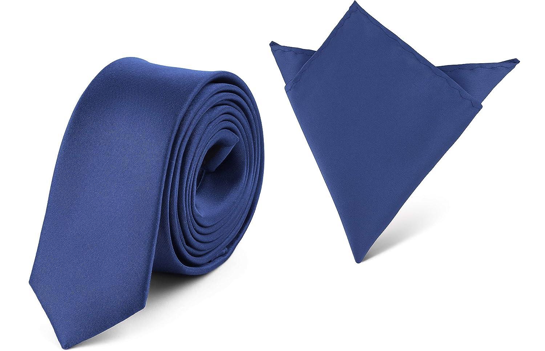 Ladeheid Herren Schmale Krawatte & Einstecktuch Set SP/P (150cm x 5cm, 22cm x 22cm) Amarant)