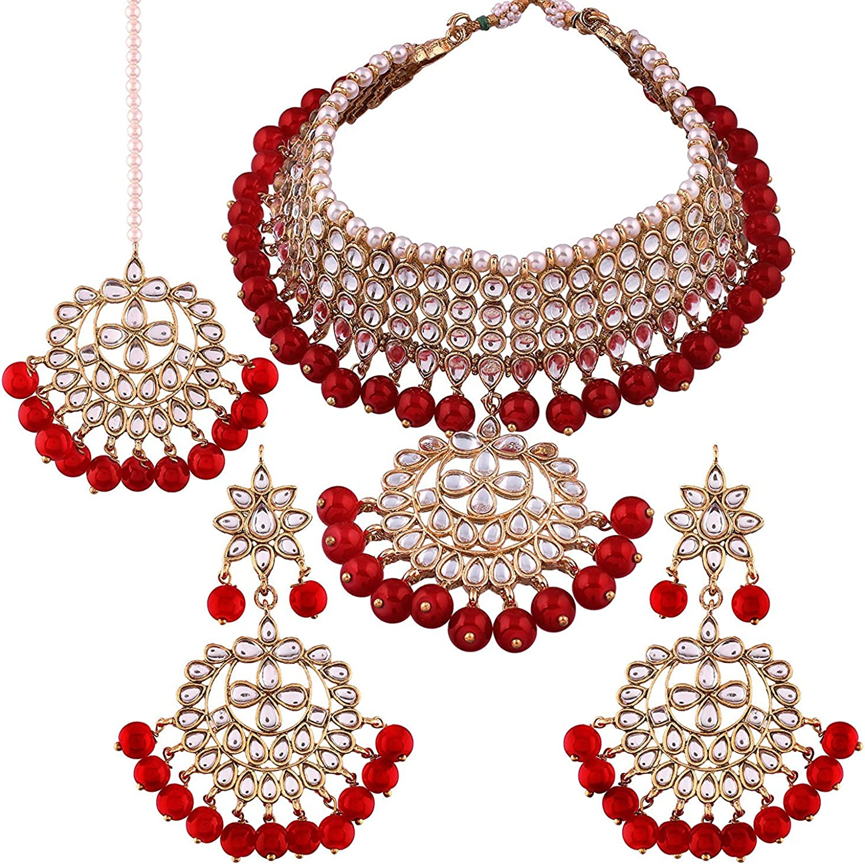 Aheli Stunning Wedding Party Wear Traditional Faux Kundan Choker Necklace with Maang Tikka Set Indian Ethnic Jewellery for Women