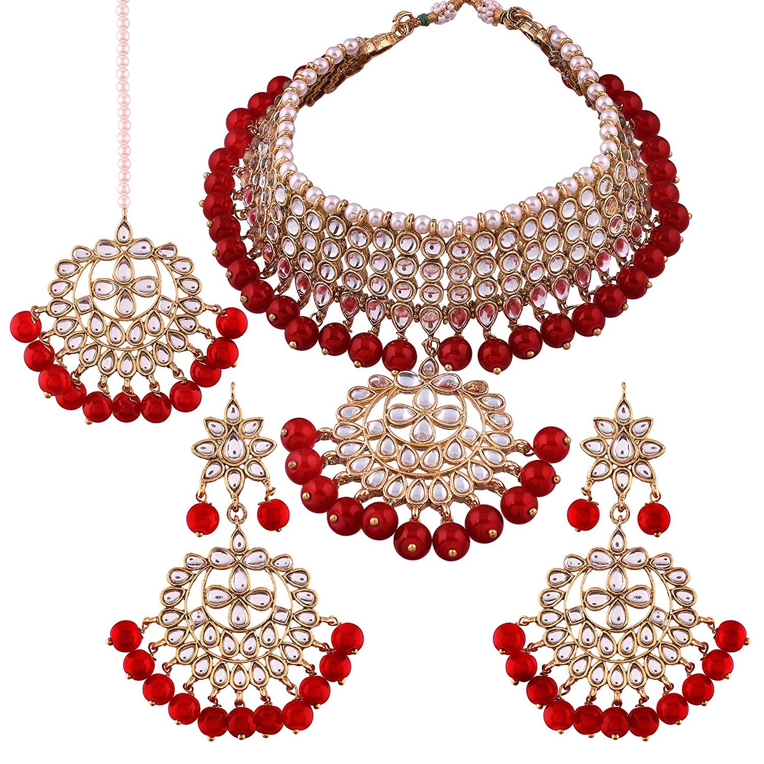 Peora Red Gold Plated Traditional Kundan Necklace Jewellery