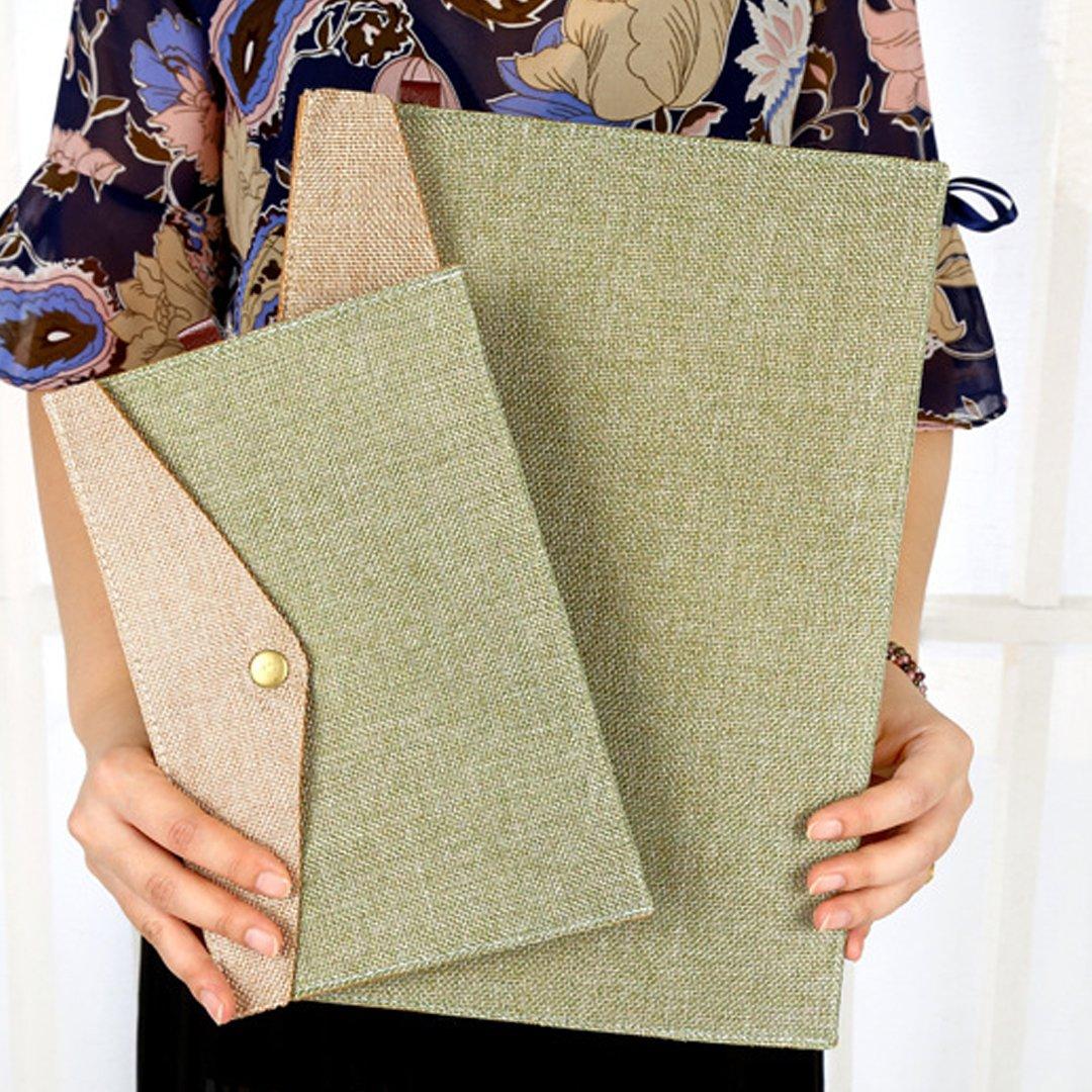 4pcs Wool Felt Snap Button Document File Holder Filing Envelope Army Green