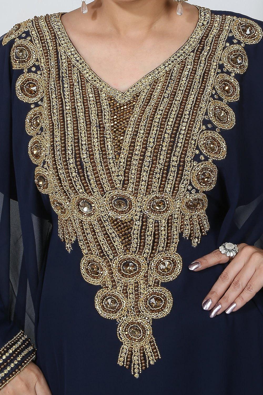 Eine Gr/össe BediS Uae Style WomenS Farasha Maxi Arabisches Islamisches Kaftan Langes Kleid Kaf-2940