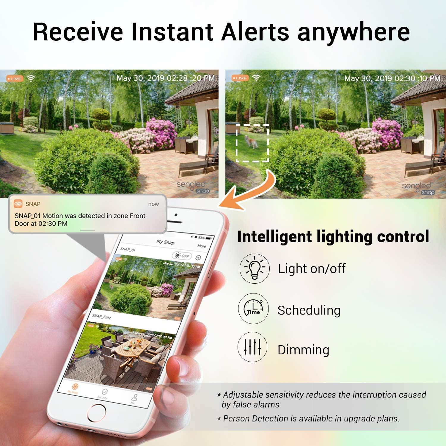 Sengled Light Bulb Camera Wifi Home Security System Wireless Outdoor Waterproof Remote Control Camera Night Vision Motion Activated Alerts 1080p PAR38 E26 LED Floodlight Cam 2 Pack