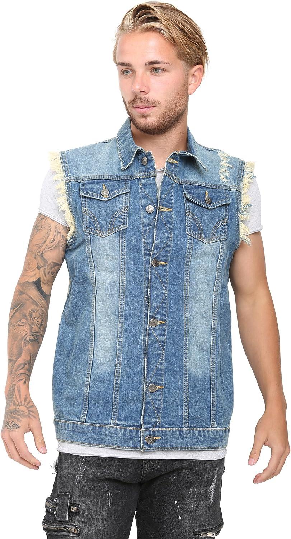 Mens Denim Vest Jean Coat Causal Jacket Collar Sleeveless Shirt Biker Cool