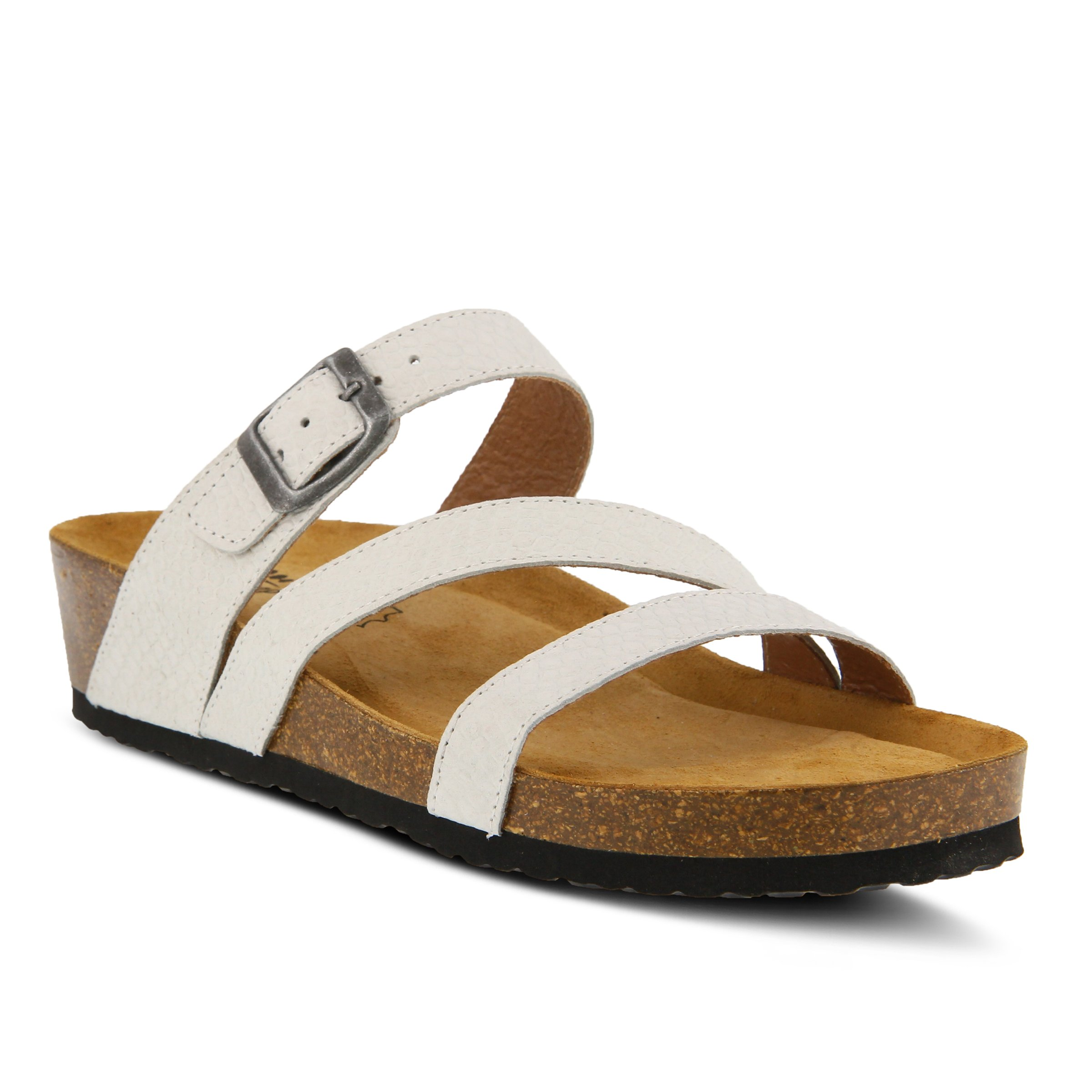 Spring Step Women's Style Flossie White EURO Size 39 Leather Slide Sandal