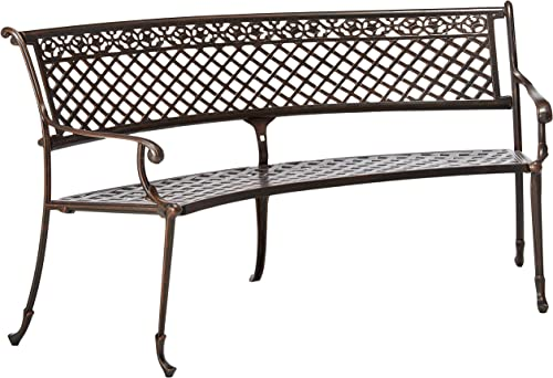 Christopher Knight Home Sebastian Outdoor Antique Cast Aluminum Sector Bench