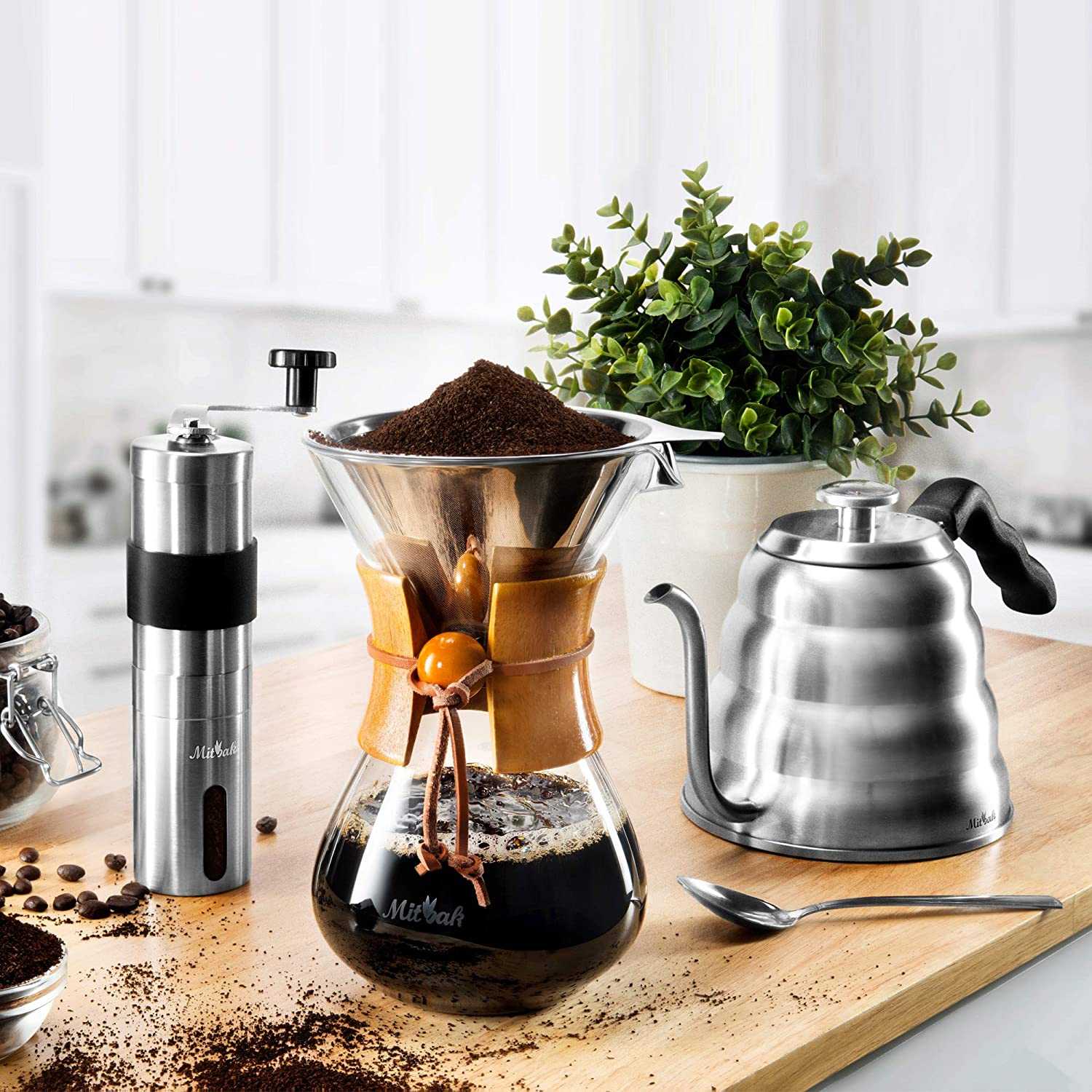 MITBAK Pour Over Coffee Maker Set Kit Includes Gooseneck Kettle with Thermometer, Coffee Mill Grinder Coffee Dripper Brewer Great Replcaement for Coffee Machines