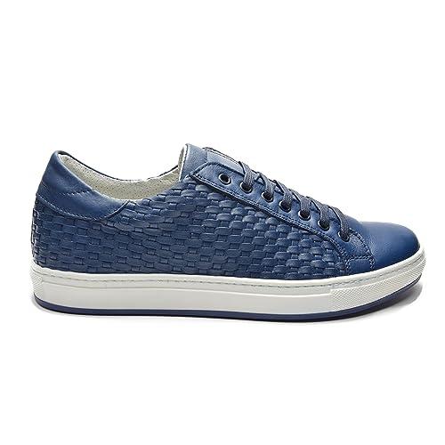d3856011d3 Pablo - Scarpe Sneakers in Pelle Intrecciata Blu, su Fondo Gomma ...