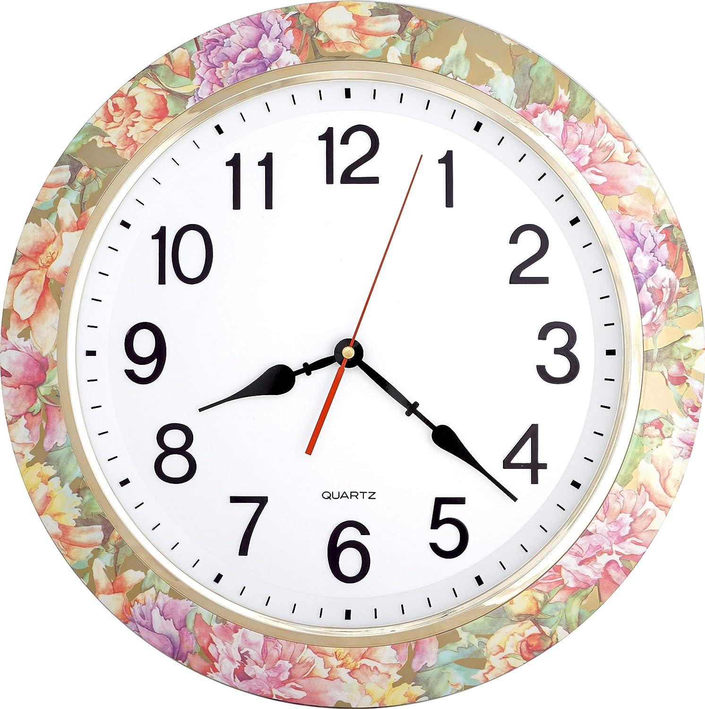 Classroom ISHIWA 16-inch Large Easy to Read 3D Numerals Quartz Wall Clock Quiet Non-ticking Movement Office Home Decor W00147-4 Wooden Grain