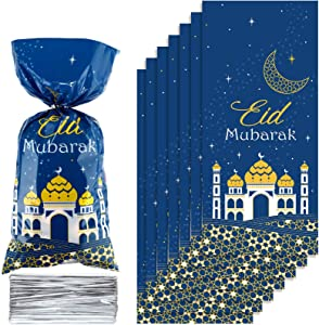 100 Pieces Eid Mubarak Party Treat Bags, Blue Gold Ramadan Theme Printed Pattern Gift Bags Cellophane Clear Plastic Goodie Favor Bags with 100 Silver Twist Ties for Eid Mubarak Party Decoration