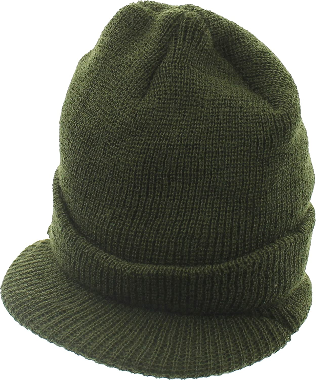 ARMYU Military Genuine GI Wool Knit Jeep Hat, USN Cold Weather Winter Visor Cap US Made