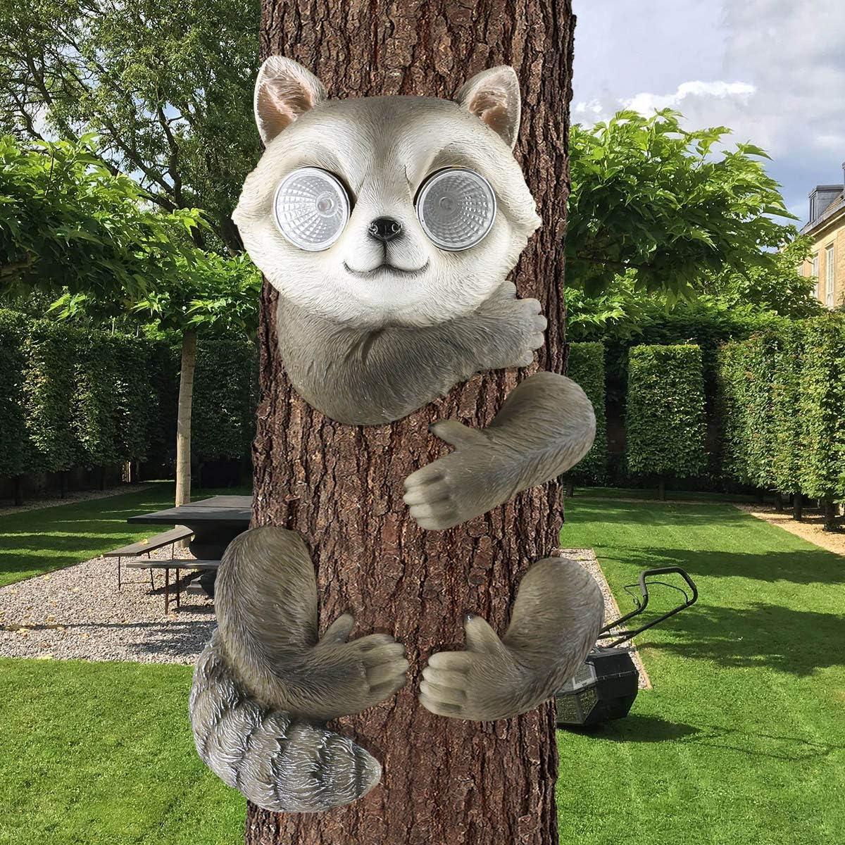 LIMEIDE Upgraded Big Size Solar Bear Tree Hugger/Peeker/Sculpture, Decorative Whimsical Bear Statue with Solar Light Eyes for Yard Art, Outdoor Garden Courtyard Decor- Housewarming Gift