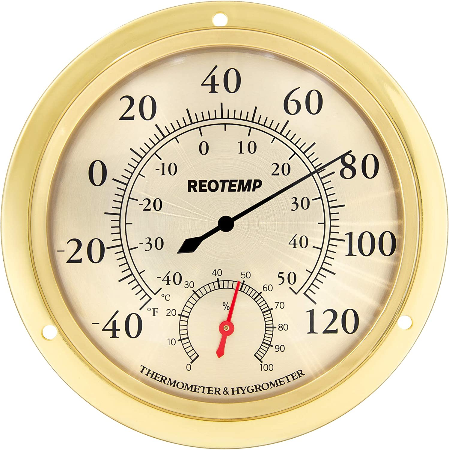 """REOTEMP WTH6B Indoor Wall Thermometer Hygrometer, Analog, 5.75"""" Polished Metal Brass and Glass, Humidity and Temperature Monitor"""