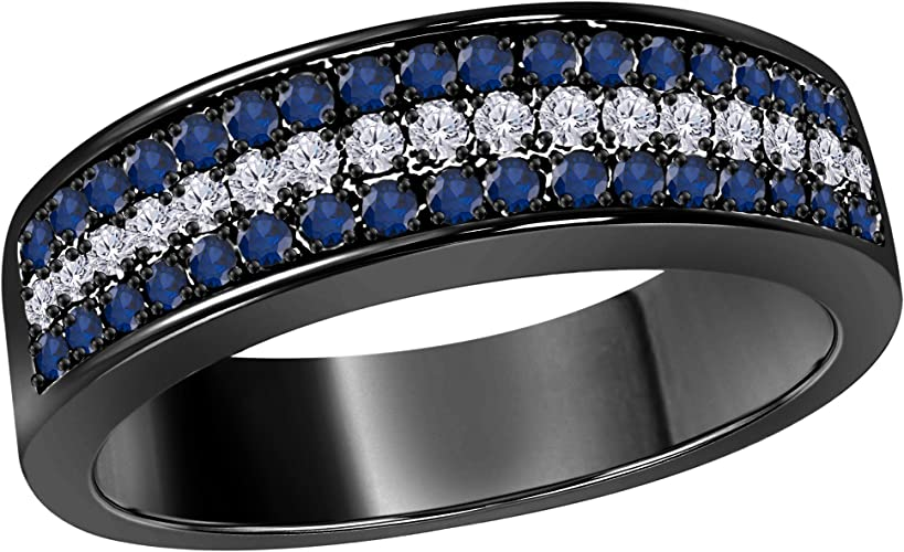 Gems and Jewels Mens Wedding Anniversary Band Ring in 14k Yellow Gold Plated Blue Sapphire