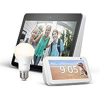 Echo Show (2.ª generación, blanco) + Echo Show 5 (blanco) + Bombilla Philips Hue White LED E27