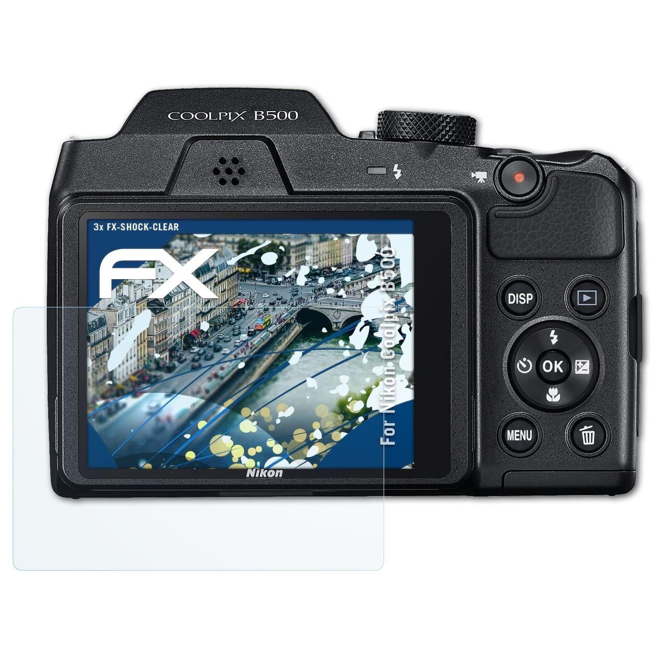 atFoliX Anti-Choc Film Protecteur Compatible avec Nikon Coolpix B500 Film Protecteur 3X Ultra Clair et Absorbant Les Chocs FX Protecteur d/écran