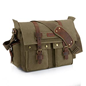 "Kattee Retro Unisex Canvas Leather Messenger Shoulder Bag Fits 14.7"" Laptop"