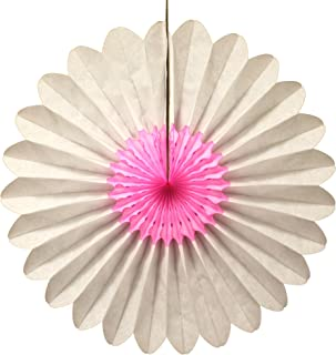 product image for 3-Pack 18 Inch Tissue Paper Fanburst Decoration (Pink and White)