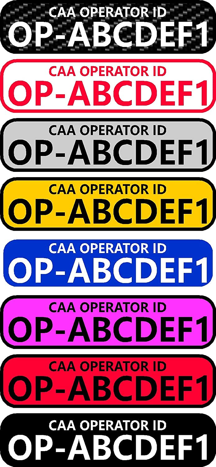 x8 Drone /& Model Aircraft Operator Registration id Stickers CAA Req