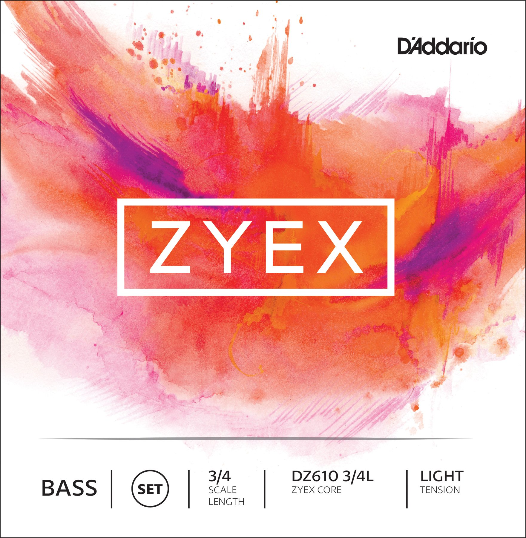 D'Addario Zyex Bass String Set, 3/4 Scale, Light Tension