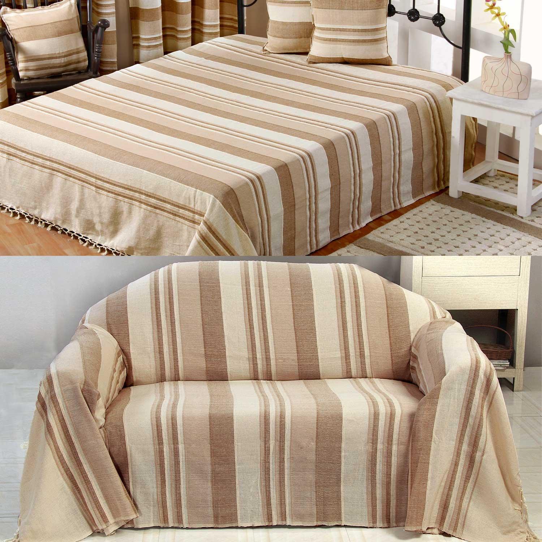 Homescapes waschbare Tagesdecke Sofaüberwurf Plaid Morocco 150 x 200 cm in Streifen-Design Bettüberwurf aus 100% reiner Baumwolle in beige