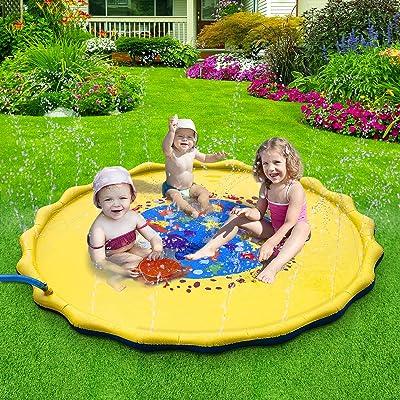 Sprinkler for Kids, 68in-Diameter Splash Pad & Splash Play Mat, Perfect Inflatable Outdoor Sprinkler Pad Summer Fun Water Toys: Toys & Games