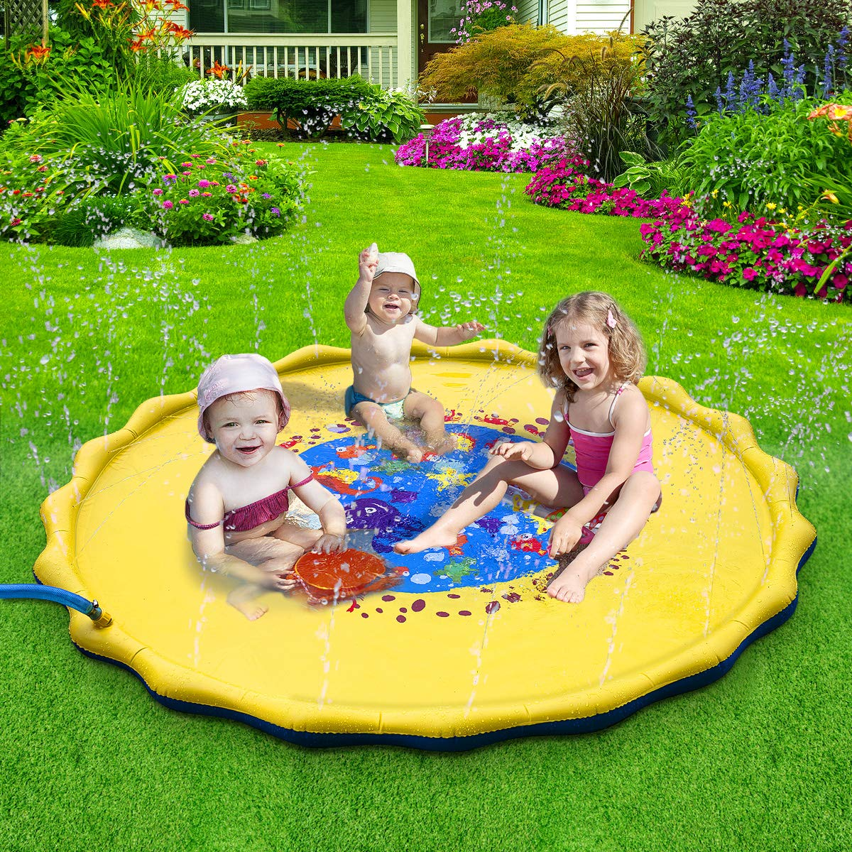Splash Play Mat, 68in-Diameter Perfect Inflatable Outdoor Sprinkler Pad Summer Fun Backyard Play for Infants Toddlers and Kids by DAPRIL (Image #1)