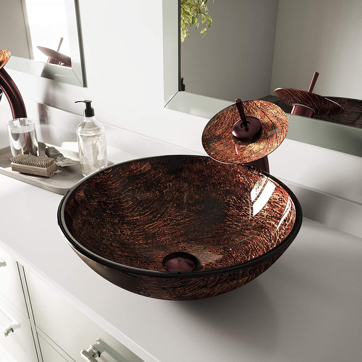 VIGO Kenyan Twilight Glass Vessel Bathroom Sink and Waterfall Faucet with Pop Up, Oil Rubbed Bronze