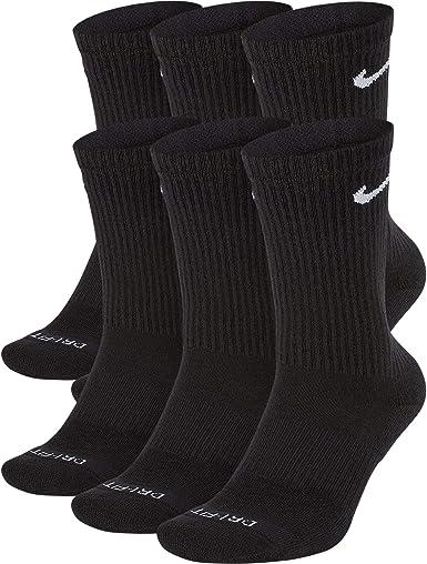 Nike Men's Everyday Plus Cushion Crew Socks (Large, Black/White)