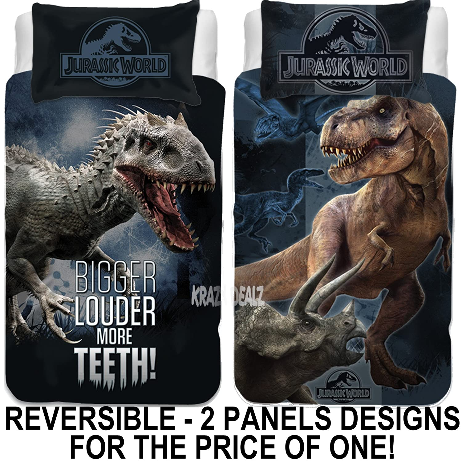 Jurassic World Single Panel Duvet Cover Bed Set   Reversible Panel
